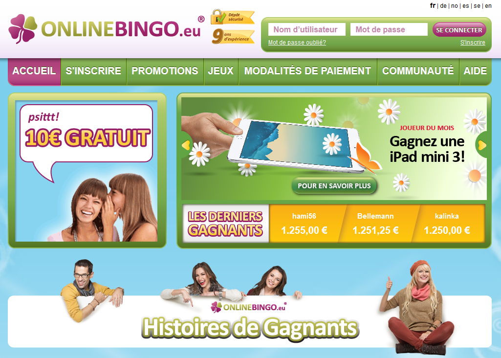 gratter sur Onlinebingo